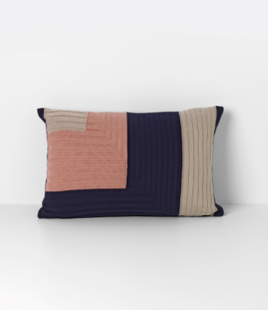 Angle Knit Cushion in Dark Blue