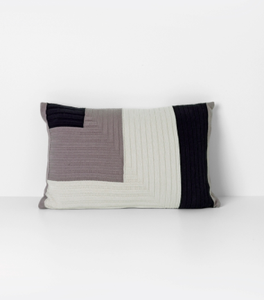 Angle Knit Cushion in Grey